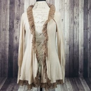 Anthropologie Sweaters - Guinevere taupe & white stripe ruffle cardigan